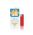 flat cigarette pack and lighter icon vector image vector image