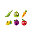 flat set of humanized fruits and vegetables vector image vector image
