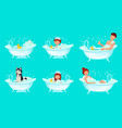 foam bath bathroom tub bathing man relaxing vector image vector image