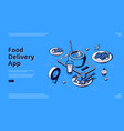 food delivery app isometric landing page banner vector image vector image