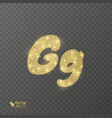 golden shiny letter g on a transparent background vector image