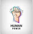 Hand fist logo power fight icon vector image