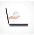 hand holding clock comes from laptop screen vector image vector image