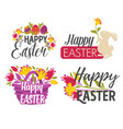 happy easter isolated greeting icons eggs and vector image vector image