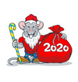 happy rats in santa claus clothes and with a big vector image