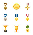honorable medals icons set cartoon style vector image