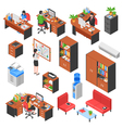 Isometric Office Elements Set vector image vector image
