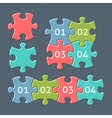 Jigsaw puzzle pieces with numbers vector image