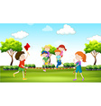 Kids playing piggy back ride in the park vector image vector image