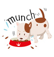 Little dog munching alone vector image vector image
