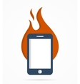 logo combination a fire and phone vector image