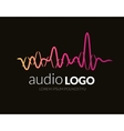 Logo template sound wave studio music dj audio vector image vector image
