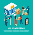 mail delivery service isometric composition vector image vector image