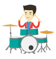 man playing on drum kit vector image vector image