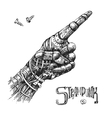 mechanical pointing finger vector image vector image