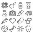 medical icons set on white background line style vector image