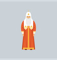 orthodox patriarch in red soutane representative vector image vector image
