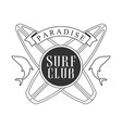 paradise surf club logo template black and white vector image vector image