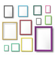 realistic color photo frame rectangular picture vector image vector image