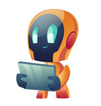 robot hold tablet isolated on white background vector image