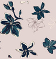 seamless floral pattern in tender blue green vector image