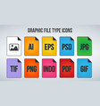set of graphic or image file formats icons vector image