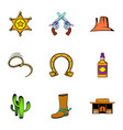 sheriff icons set cartoon style vector image vector image