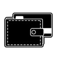 silhouette wallet to save credit card currency vector image