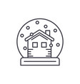 snow globe with house line icon concept snow vector image