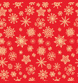 snow pattern on red background xmas doodles vector image
