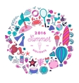 Summer doodles design travel vacation vector image vector image
