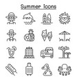summer icon set in thin line style vector image