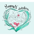 Summer Vacation lettering text Girl in bathing vector image