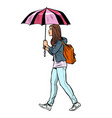teen girl with umbrella vector image