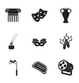Theater set icons in black style Big collection vector image vector image