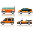 Transportation set in orange vector image vector image