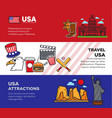 travel to usa promotional banners with national vector image vector image