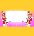 twin pretty santa woman stand showing with empty vector image