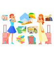 two women in anticipation of vacation planning vector image vector image