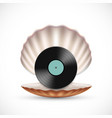 vinyl record disc in a seashell vector image vector image