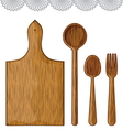 Wooden Kitchen Utensils vector image vector image