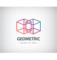 abstract geometric linear logo two cubes vector image