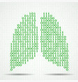 abstract human lungs with binary computer code vector image