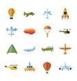 aircraft icons set flat vector image
