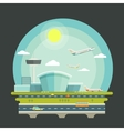 Airport with planes or aircrafts in flat design vector image vector image