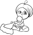 baby girl with santa hat coloring page vector image