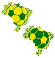 Brazil map soccer balls vector image