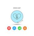 broken heart icon divorce sign vector image