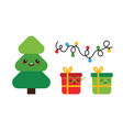christmas tree gifts garland icons vector image vector image
