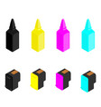 cmyk and black cartridges and ink bottles for ink vector image vector image